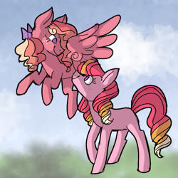Size: 733x733   Tagged: safe, artist:bi-refly, oc, oc only, oc:honeycrisp blossom, oc:smitten kitten, earth pony, pegasus, pony, duo, female, filly, interdimensional siblings, offspring, parent:big macintosh, parent:princess cadance, parents:cadmac, siblings, sisters
