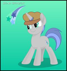 Size: 1079x1149 | Tagged: safe, artist:dolenore, oc, oc:star struck, pony, unicorn, beret, hat, male, solo, stallion