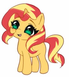 Size: 900x1014 | Tagged: safe, artist:pantypon, sunset shimmer, pony, unicorn, big eyes, blank flank, cute, female, filly, filly sunset shimmer, shimmerbetes, simple background, solo, white background, younger