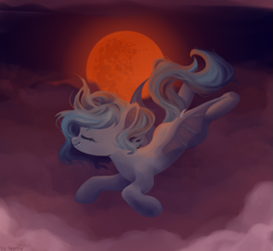 Size: 673x618 | Tagged: safe, artist:laymyy, oc, oc only, bat pony, bat pony oc, bat wings, blood moon, cloud, eyes closed, flying, full moon, mare in the moon, moon, night, smiling, solo, wings