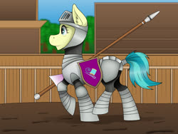 Size: 1000x750 | Tagged: safe, artist:zeronitroman, auntie lofty, pegasus, pony, arena, armor, female, jousting lance, lance, mare, mud, profile, shield, solo, weapon, ych result