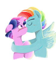 Size: 1536x2048 | Tagged: safe, artist:wimple, rainbow dash, twilight sparkle, blushing, dusk shine, duskblitz, gay, kissing, male, rainbow blitz, rule 63, shipping, simple background, twidash, white background