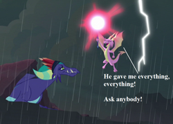 Size: 1008x720 | Tagged: safe, edit, edited screencap, screencap, gaius (dragon), scales (character), the hearth's warming club, bloodstone scepter, cropped, dragnet, ingrate, lightning, rain, speech, the big thank you