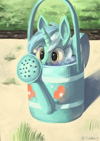 Size: 2897x4096 | Tagged: safe, artist:toisanemoif, lyra heartstrings, pony, sea pony, unicorn, adorawat, cartoon physics, cute, featured image, female, flower, grass, hide and seek, hiding, if i fits i sits, l.u.l.s., lyra doing lyra things, lyrabetes, mare, peekaboo, peeking, sand, seaponified, seapony lyra, silly, solo, soon, species swap, sunlight, wat, water, watering can, weapons-grade cute, wide eyes