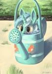 Size: 2897x4096 | Tagged: safe, artist:toisanemoif, lyra heartstrings, pony, unicorn, cartoon physics, cute, female, hiding, lyra doing lyra things, lyrabetes, mare, peeking, silly, solo, soon, wat, water, watering can, wide eyes