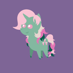 Size: 540x540 | Tagged: safe, fizzy, pony, unicorn, chibi, female, g1, g1 to g4, generation leap, mare, purple background, simple background, solo
