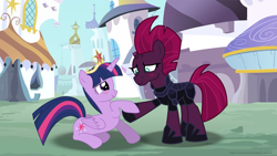 Size: 3949x2225 | Tagged: safe, alternate version, artist:ejlightning007arts, tempest shadow, twilight sparkle, alicorn, unicorn, big crown thingy, blushing, broken horn, canterlot, cute, element of magic, female, holding hooves, horn, jewelry, lesbian, regalia, shipping, tempestlight, town, twilight sparkle (alicorn)
