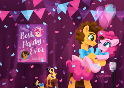 Size: 1551x1111 | Tagged: safe, artist:sonnatora, boneless, boneless 2, cheese sandwich, pinkie pie, earth pony, pony, party pooped, balloon, bowtie, cheesepie, confetti, female, looking at each other, male, microphone, ponies carrying ponies, shipping, straight