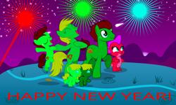 Size: 1134x680   Tagged: safe, artist:optimusv42, oc, oc:fire jewel the dragon, oc:jungle heart, oc:jungle jewel, oc:wildlife, dragon, earth pony, gorilla, pony, chest beating, chest pounding, happy new year, holiday, ocs:the jungle family