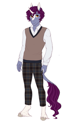 Size: 459x789 | Tagged: safe, artist:askbubblelee, oc, oc only, oc:keystone quartz, anthro, unguligrade anthro, unicorn, clothes, leonine tail, male, simple background, smiling, solo, stallion, white background