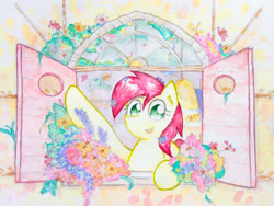Size: 4032x3024   Tagged: safe, artist:papersurgery, roseluck, earth pony, pony, cute, female, flower, looking at you, mare, open mouth, solo, traditional art, watercolor painting, window
