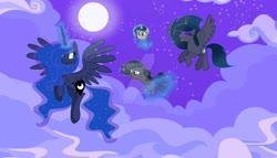Size: 1024x587 | Tagged: safe, artist:velveagicsentryyt, princess luna, oc, oc:lunais, oc:midnight moon (velvetsentryyt), oc:moonlight sonata, alicorn, pony, unicorn, baby, baby pony, base used, deviantart watermark, female, magic, mare, moon, night, obtrusive watermark, offspring, parent:king sombra, parent:princess luna, parents:lumbra, watermark