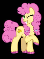 Size: 570x755 | Tagged: safe, artist:ponylover88, li'l cheese, earth pony, pony, spoiler:s09e26, black background, female, grin, li'l cheese (rule 63), mare, older, one eye closed, rule 63, simple background, smiling, solo, watermark, wink
