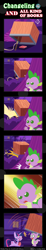 Size: 600x3263   Tagged: safe, artist:vavacung, spike, twilight sparkle, dragon, pony, unicorn, comic:changeling and all kind of books, blushing, book, comic, female, male, pointy ponies, that pony sure does love books, trap (device), unicorn twilight