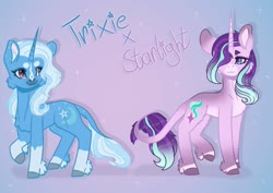 Size: 1280x906 | Tagged: safe, artist:karperstein, starlight glimmer, trixie, pony, unicorn, :3, chest fluff, female, leonine tail, lesbian, pink background, shipping, simple background, smiling, sparkles, startrix