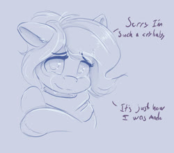 Size: 3146x2750 | Tagged: safe, artist:ardail, oc, oc:mocha latte, anxious, clothes, crying, dialogue, female, looking at you, mare, ponytail, sad smile, scarf, sketch, smiling, weak smile