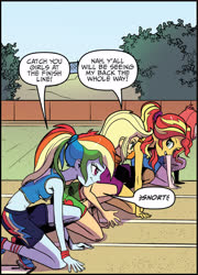 Size: 2575x3576 | Tagged: safe, artist:pencils, idw, applejack, rainbow dash, sunset shimmer, equestria girls, spoiler:comic, spoiler:comicequestriagirlsmarchradness, clothes, crouching, race track, shoes, sleeveless, snorting
