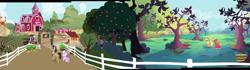 Size: 4180x1164 | Tagged: safe, composite screencap, edit, edited screencap, screencap, applejack, big macintosh, diamond tiara, filthy rich, earth pony, pony, family appreciation day, apple orchard, apple tree, basket, chicken coop, corn, farm, female, fence, filly, foal, food, hill, male, mare, orchard, panorama, stallion, sweet apple acres, tree, zap apple tree