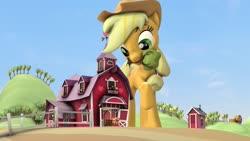 Size: 1280x720   Tagged: safe, artist:jeroen01, apple bloom, applejack, big macintosh, apple siblings, apple sisters, barn, big pony, brother and sister, macro, ncmares bait, siblings, sisters, sweet apple acres, tree