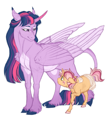 Size: 2713x3013 | Tagged: safe, artist:gigason, twilight sparkle, oc, alicorn, pony, adopted offspring, amputee, colt, curved horn, high res, horn, male, parent:twilight sparkle, simple background, transparent background, twilight sparkle (alicorn)