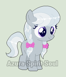 Size: 282x326 | Tagged: safe, artist:azura-spirit-soul, artist:selenaede, silver spoon, earth pony, pony, alternate hairstyle, alternate universe, base used, blank flank, female, filly, gray background, missing accessory, missing cutie mark, redesign, simple background, solo, watermark