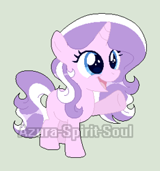 Size: 304x325 | Tagged: safe, artist:azura-spirit-soul, artist:selenaede, diamond tiara, pony, unicorn, alternate hairstyle, alternate universe, base used, blank flank, female, filly, gray background, missing accessory, missing cutie mark, open mouth, race swap, raised hoof, redesign, simple background, solo, watermark