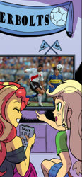 Size: 575x1241 | Tagged: safe, artist:pencils, edit, idw, applejack, sunset shimmer, human, equestria girls, spoiler:comic, spoiler:comicequestriagirlsmarchradness, argentina, boca juniors, cropped, irl, irl human, photo, river plate, television