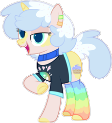 Size: 2728x2976 | Tagged: safe, artist:bee, artist:rerorir, oc, oc only, oc:lunar breeze, pony, unicorn, base used, clothes, collar, commission, ear piercing, earring, female, jewelry, mare, markings, open mouth, piercing, rainbow socks, raised hoof, shirt, socks, solo, striped socks, t-shirt