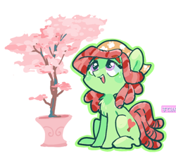Size: 620x574 | Tagged: safe, artist:sibashen, tree hugger, earth pony, pony, cherry blossoms, chest fluff, cute, female, flower, flower blossom, huggerbetes, mare, open mouth, potted plant, simple background, sitting, solo, tree, white background