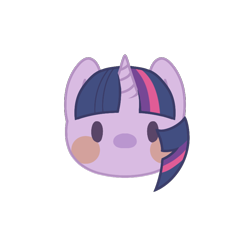 Size: 800x800 | Tagged: safe, artist:mya3332, twilight sparkle, beady eyes, blush sticker, blushing, bust, chibi, cute, head only, looking at you, part of a set, portrait, simple background, solo, transparent background, twiabetes