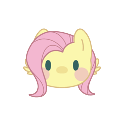 Size: 800x800 | Tagged: safe, artist:mya3332, fluttershy, beady eyes, blush sticker, blushing, bust, chibi, cute, head only, looking at you, part of a set, portrait, shyabetes, simple background, solo, transparent background