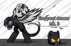 Size: 1024x666   Tagged: safe, artist:adagiostring, oc, pegasus, pony, fallout equestria, armor, enclave armor, helmet, pegasus oc, pipbuck, rearing, reference sheet, text, wings