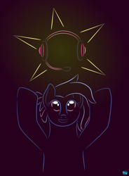 Size: 622x845 | Tagged: safe, artist:quint-t-w, oc, oc only, oc:bit rate, earth pony, pony, bust, female, gradient background, headphones, hooves up, item get, looking up, mascot, minimalist, modern art, ponyfest, shiny, smiling, solo