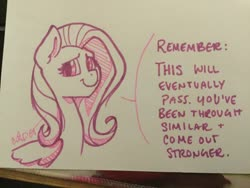 Size: 2048x1536 | Tagged: safe, artist:cadetredshirt, fluttershy, pegasus, pony, ear fluff, ink drawing, looking at you, paper, photo, simple shading, smiling, solo, sympathy, text, traditional art, wings