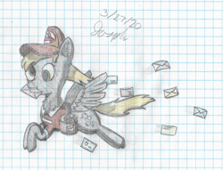 Size: 2745x2100 | Tagged: safe, artist:mlplayer dudez, derpy hooves, pegasus, pony, box, cel shading, cheek fluff, chest fluff, clothes, colored, ear fluff, envelope, fluffy, flying, graph paper, hat, letter, mail, mailbag, mailmare, mouth hold, package, shading, solo, traditional art, uniform