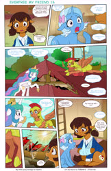 Size: 5484x8437 | Tagged: safe, artist:jeremy3, princess celestia, trixie, oc, oc:miss becky, alicorn, earth pony, pegasus, pony, unicorn, comic:everfree, comic:everfree my friend, cast, comic, crying, guard, royal guard, school, sling, teary eyes