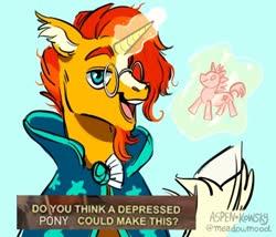 Size: 640x548 | Tagged: safe, sunburst, pony, unicorn, cloak, clothes, depressed, dialogue, glasses, glowing horn, horn, levitation, magic, male, meme, ponified meme, raised hoof, solo, stallion, telekinesis, toy, unshorn fetlocks