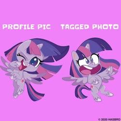 Size: 1080x1080 | Tagged: safe, twilight sparkle, alicorn, pony, my little pony: pony life, duality, instagram, meme, official, one eye closed, purple background, simple background, solo, twilight sparkle (alicorn)