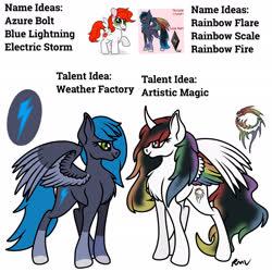 Size: 2048x2048   Tagged: safe, artist:rmv-art, oc, oc:azure bolt, oc:pearl rose, oc:rainbow scale, alicorn, pegasus, pony