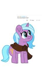 Size: 1080x1575 | Tagged: safe, artist:chespinfan, idw, radiant hope, pony, unicorn, cloak, clothes, female, mare, requested art, simple background, smiling, solo, white background