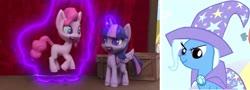 Size: 1249x450 | Tagged: safe, edit, screencap, pinkie pie, trixie, twilight sparkle, magician pinkie pie (short), my little pony: pony life, angry, levitation, magic, scrunchy face, telekinesis