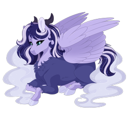 Size: 2700x2500 | Tagged: safe, artist:gigason, oc, oc only, oc:eternity, hybrid, pony, female, high res, mare, offspring, parent:lord tirek, parent:princess luna, prone, simple background, solo, transparent background