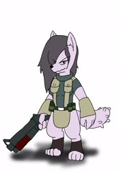 Size: 1451x2048 | Tagged: safe, artist:omegapony16, oc, oc only, anthro, diamond dog, digitigrade anthro, clothes, diamond dog oc, female, female diamond dog, gun, hair over one eye, simple background, soldier, solo, weapon, white background