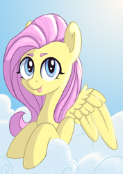 Size: 2480x3508 | Tagged: safe, artist:angelinarichter, fluttershy, pegasus, pony, :p, bust, cloud, cute, female, high res, mare, on a cloud, shyabetes, sky, solo, sun, tongue out