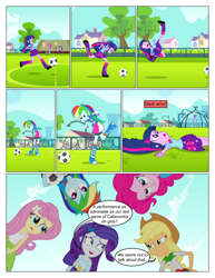 Size: 612x792 | Tagged: safe, artist:greatdinn, artist:newbiespud, edit, edited screencap, screencap, applejack, fluttershy, pinkie pie, rainbow dash, rarity, twilight sparkle, comic:friendship is dragons, equestria girls, equestria girls (movie), clothes, collaboration, comic, cutie mark, cutie mark on clothes, dialogue, eyes closed, female, football, frown, grin, hat, humane five, humane six, screencap comic, smiling, sports, unamused