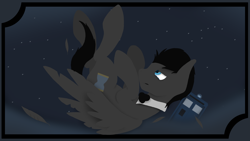 Size: 1920x1080 | Tagged: safe, artist:tiviyl scratch, doctor whooves, time turner, oc, pegasus, pony, bowtie, discord whooves, discorded, doctor who, falling, solo, stars, tardis, teary eyes
