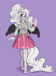 Size: 2652x3539 | Tagged: safe, artist:corelle-vairel, oc, oc only, anthro, pegasus, unguligrade anthro, anthro oc, clothes, female, jacket, mare, purple background, shirt, simple background, skirt, solo