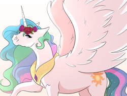 Size: 1358x1029 | Tagged: safe, artist:wilage, princess celestia, alicorn, pony, cute, cutelestia, female, floral head wreath, flower, mare, simple background, solo, spread wings, white background, wings