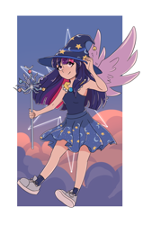 Size: 876x1374 | Tagged: safe, artist:wilage, tree of harmony, twilight sparkle, alicorn, human, abstract background, cloud, cute, cutie mark, eyebrows visible through hair, female, flying, hat, humanized, sky, solo, spread wings, staff, star swirl the bearded costume, twiabetes, twilight sparkle (alicorn), winged humanization, wings, wizard hat