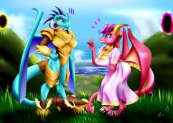 Size: 1600x1133 | Tagged: safe, artist:bludraconoid, princess ember, dragon, clothes, commission, crossover, dragon armor, dress, ember (spyro), female, grass, portal, sky